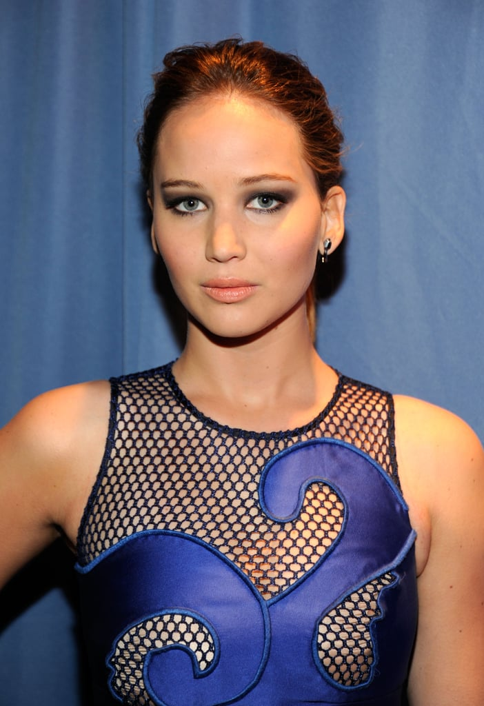 Jennifer Lawrence in a blue Viktor & Rolf dress.