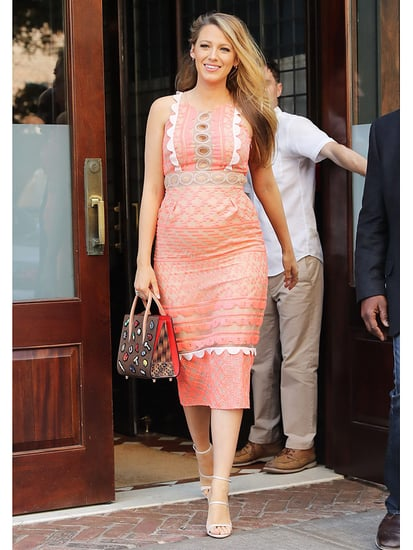 Thinking Pink! Pregnant Blake Lively Steps Out Wearing Fitted Coral Dress - Complete with Cut-Outs
