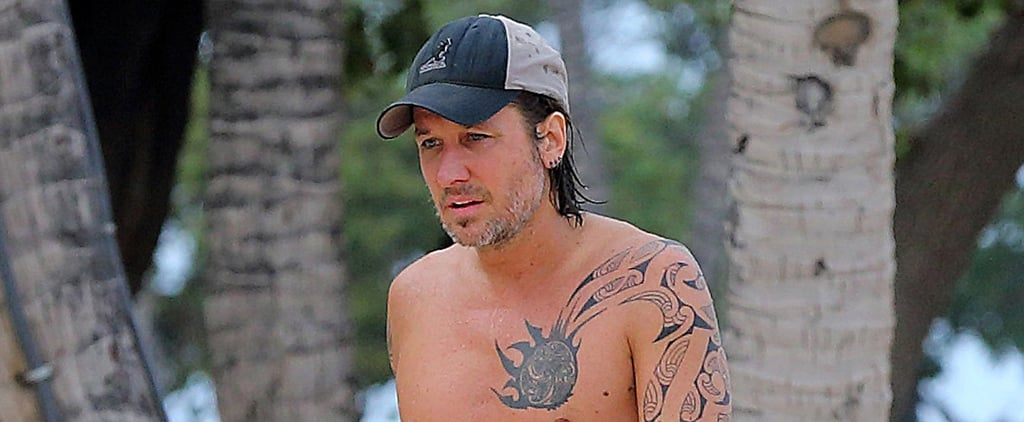 Shirtless Keith Urban Shows Off His Tattoos in Hawaii