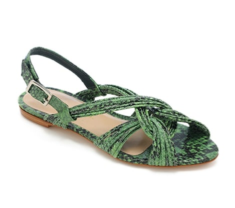 A rich burst of color and texture (read: green snakeskin) will add a cool element surprise to your outfit. Loeffler Randall Filippa Mignon Flat Sandal ($295)