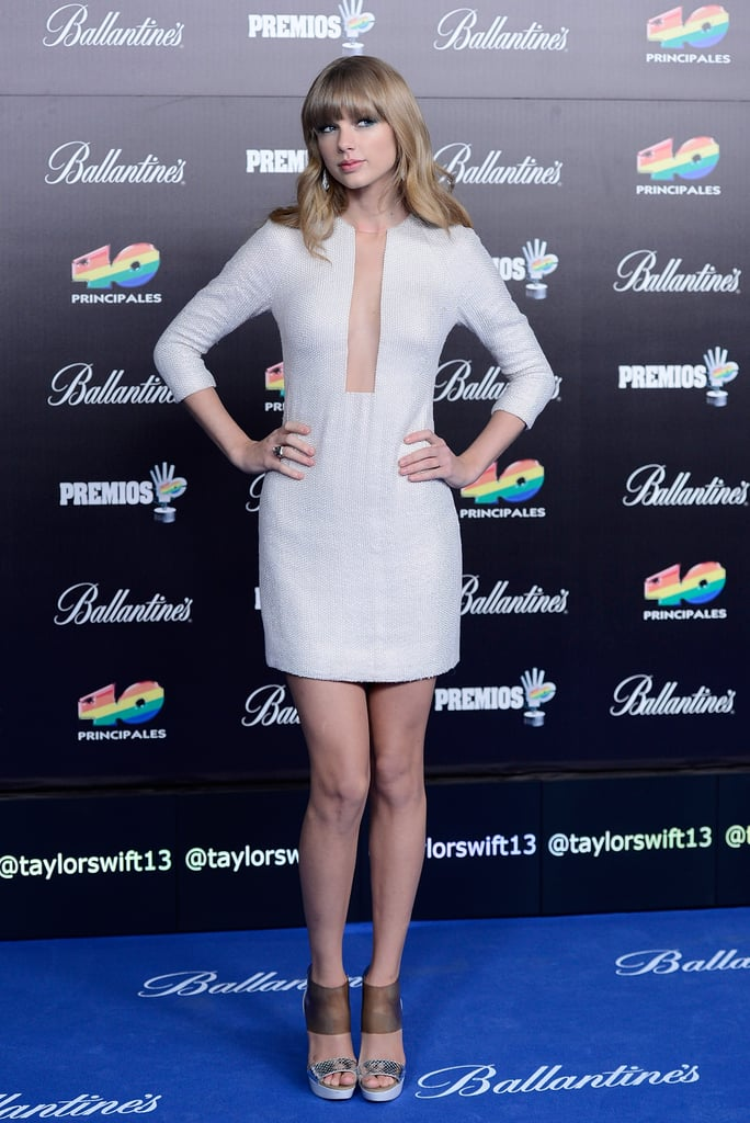 Taylor Swift wore a white minidress.