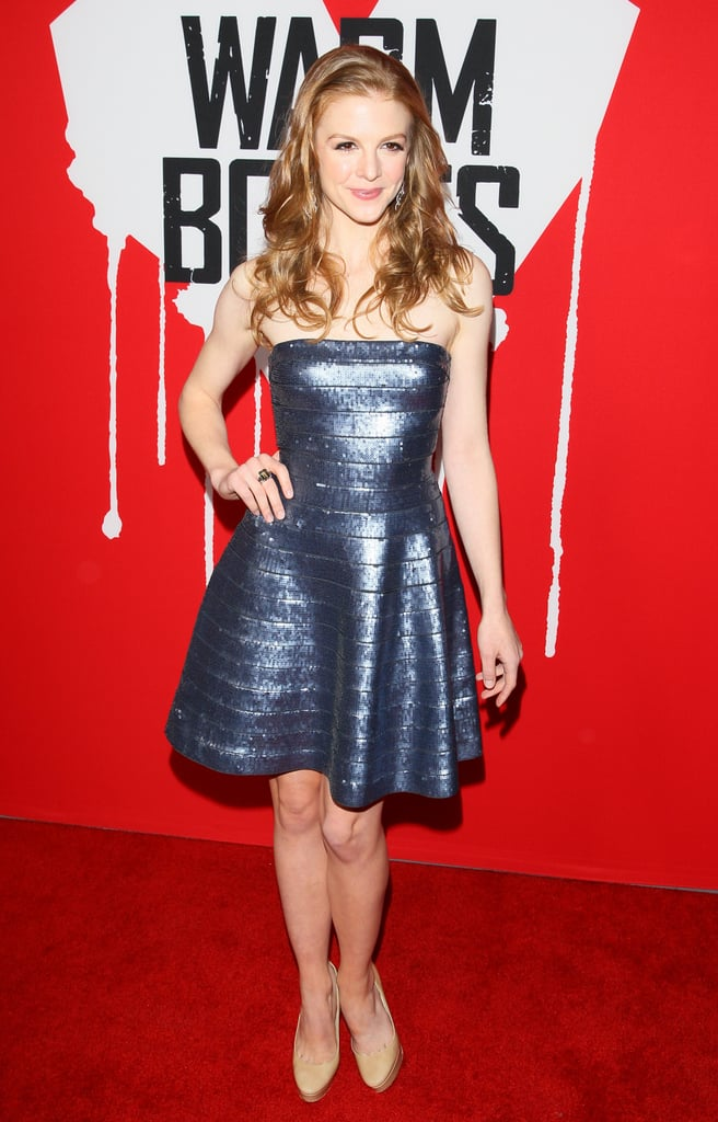 Ashley Bell wore a metallic dress on the red carpet.