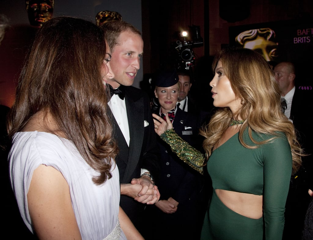 Jennifer Lopez and her mum talk to Will and Kate at the BAFTA Brits to Watch event in LA.