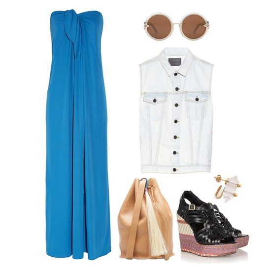 Give your weekend activities a laid-back spin by layering your bridesmaid dress with a Summer-ready denim vest (it gives any look an instant cool factor). Add sturdy wedges, a leather bucket bag, and round-frame sunglasses, then get ready to be the most stylish girl at the flea market.  Shop this look:  Halston Heritage Strapless Crepe Maxi Dress ($495) Karen Walker Orbit Sunglasses ($329) Proenza Schouler Denim Vest ($395) Mania Mania Idol Ear Cuff ($170) Tory Burch Raven Woven Leather and Raffia Wedge Sandals ($375) Fredericks & Mae For Baggu Drawstring Tassel Purse ($180)