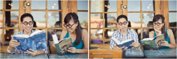 Set the scene for your own engagement photo shoot with your favorite reads.  Photo: Orange Turtle Photography