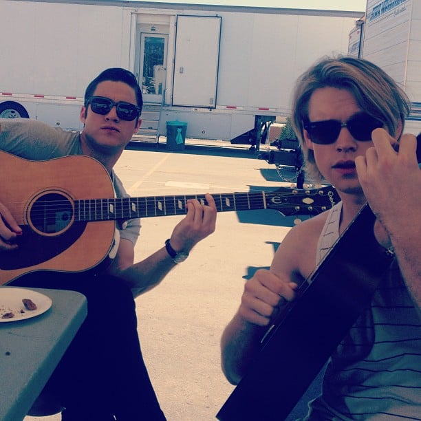 Darren Criss and Chord Overstreet had a jam session during their downtime on the Glee set. Source: Instagram user chordover