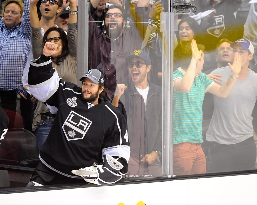 Zac Efron cheered on the LA Kings at the Stanley Cup final game in LA.