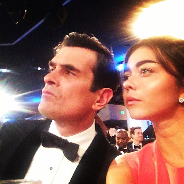 Modern Family's Sarah Hyland posed with her TV dad, Ty Burrell, at the show. Source: Instagram user therealsarahhyland