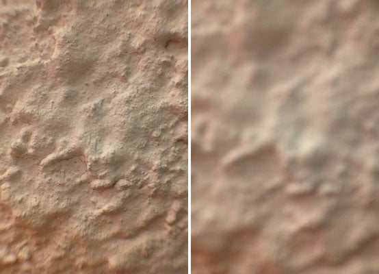 Left: with the lens.  Right: without lens.