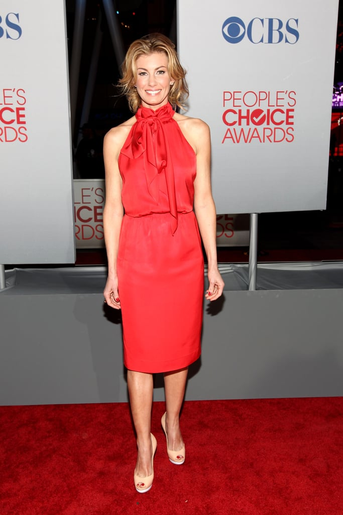 Faith Hill in a red dress at the People's Choice Awards.