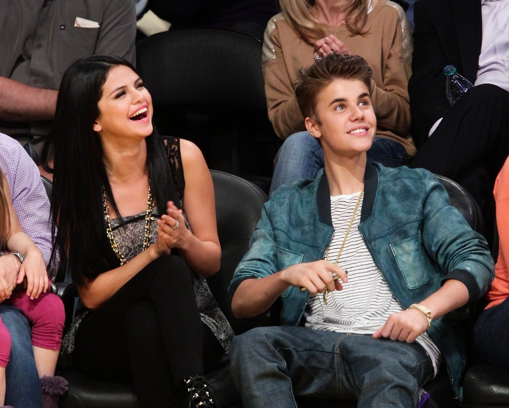 Selena Gomez and Justin Bieber sat front row as the Lakers played the San Antonio Spurs in April 2012.