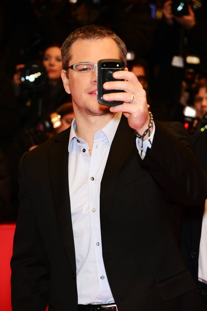 Matt Damon joked around on the red carpet taking pictures of the fans and photographers Friday night in Berlin.