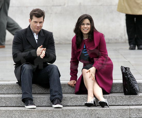 Slide Photo of America Ferrera and Eric Mabius Filming Last Episode of Ugly Betty