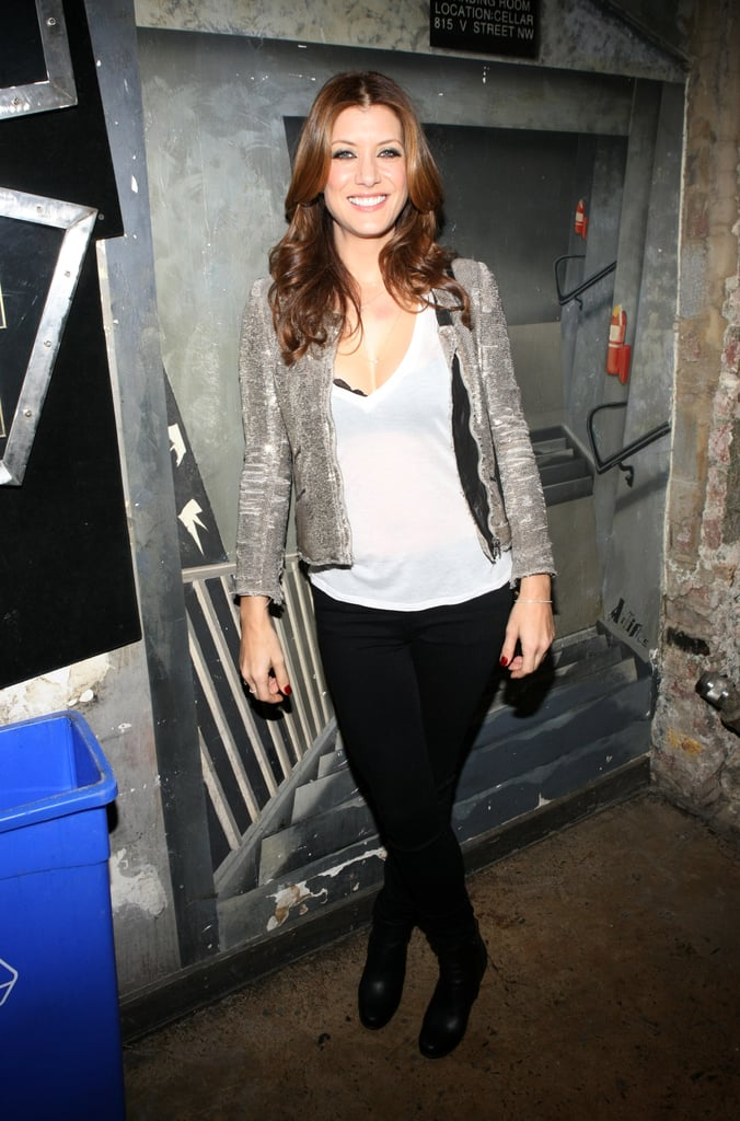 Kate Walsh looked rocker cool in a gold sequined jacket, a white tee, and black Citizens of Humanity skinnies ($178) at the Planned Parenthood and Rock the Vote inauguration festivities.