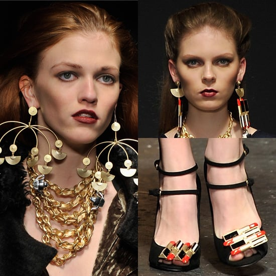 Photos of Lipstick Shoes and Earrings at Danielle Scutt's Autumn Show at London Fashion Week