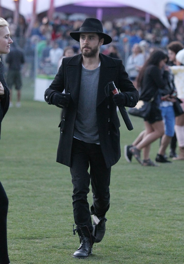 Jared Leto wore black for the first day of Coachella.