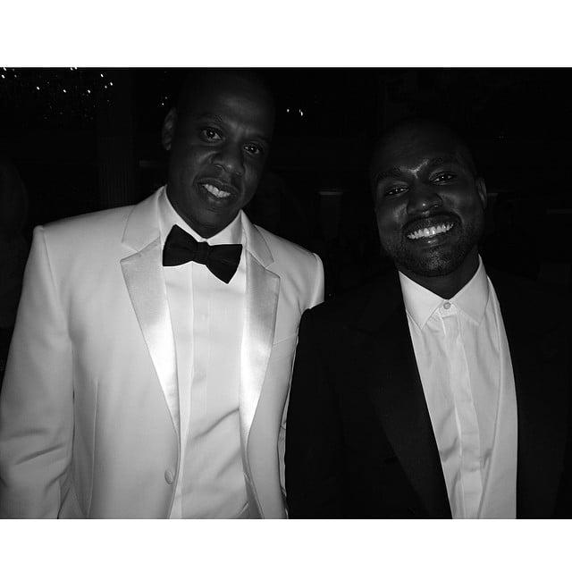 Jay Z and Kanye West were all smiles. Source: Instagram user kimkardashian