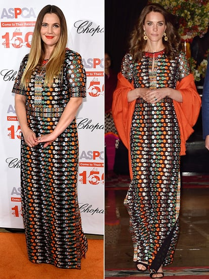 Fashion Faceoff: Kate Middleton and Drew Barrymore Wear Same Tory Burch Dress on the Same Day