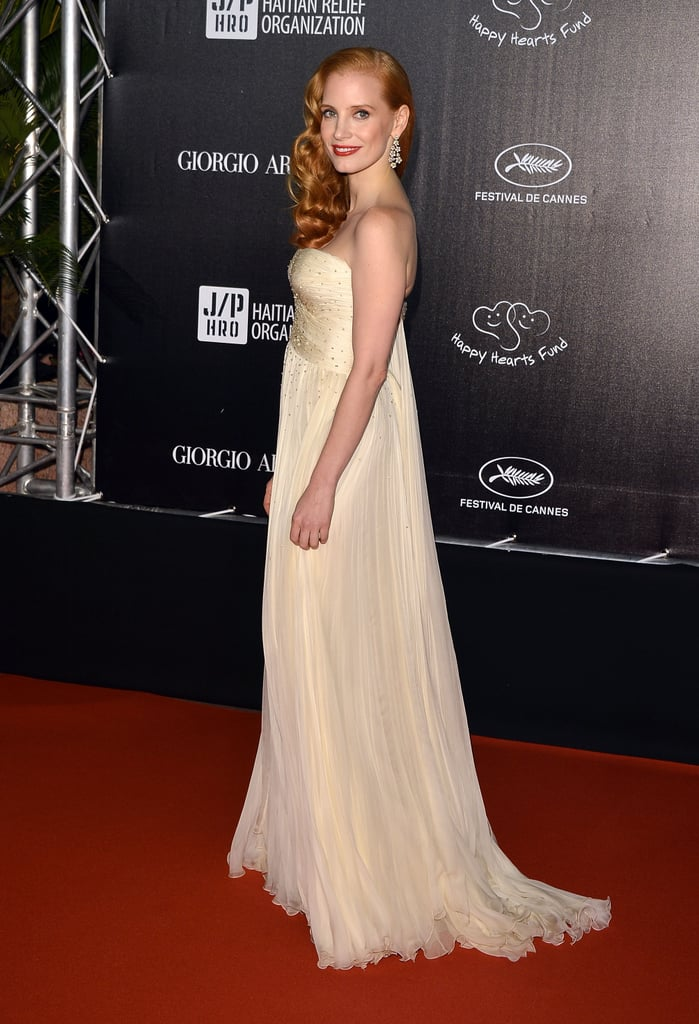 Jessica Chastain arrived at the Haiti Carnival in Cannes event.