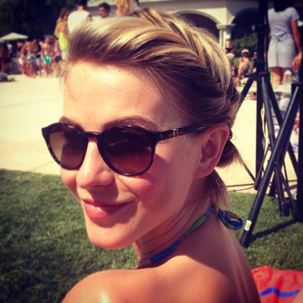 Julianne Hough showed off her cool updo — and chic sunglasses — at a Coachella braid bar. Source: Instagram user juleshough