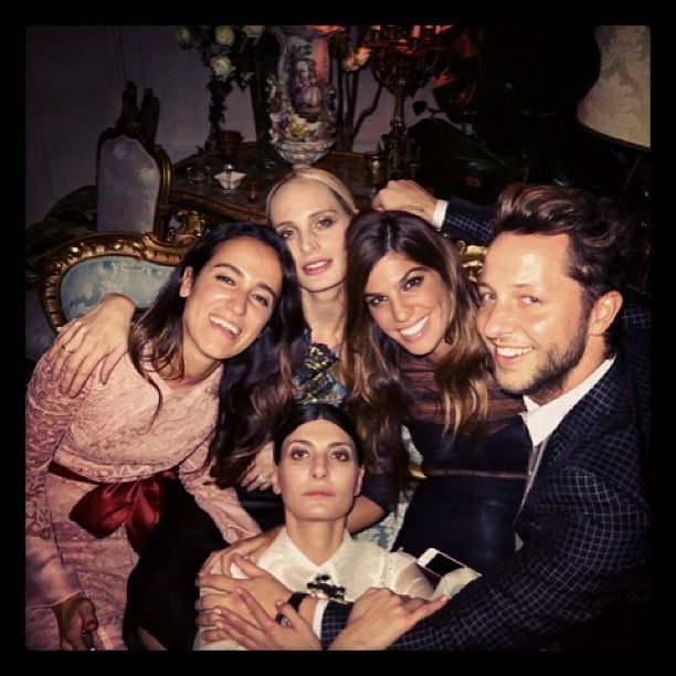 Derek Blasberg partied with Lauren Santo Domingo, Coco Brandolini, Bianca Brandolini and Giovanna Battaglia in Milan. Source: Twitter user DerekBlasberg