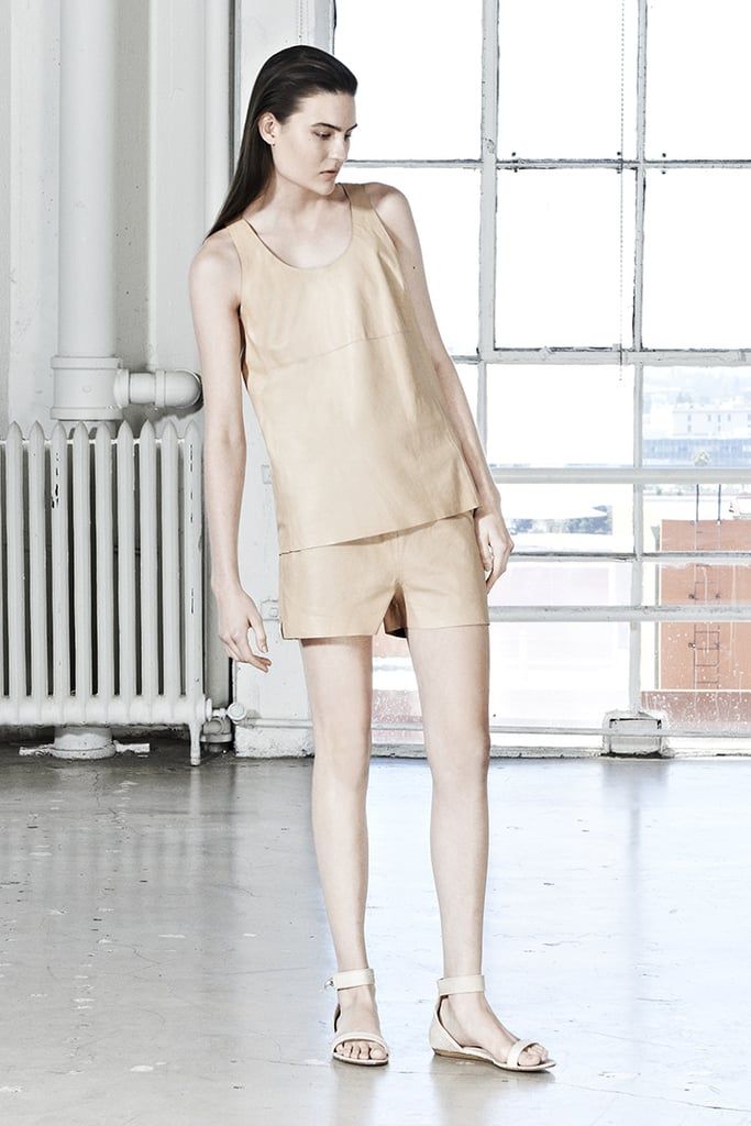 Here's a chic monochromatic outfit to look to this season. Note the leather on leather.