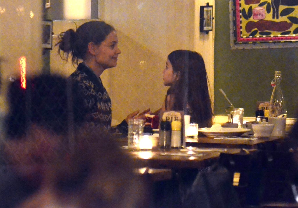Katie Holmes and Suri Cruise chatted at Bubby's.