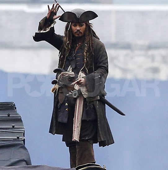 Pictures of Johnny Depp Filming Pirates of the Caribbean on Stranger Tides