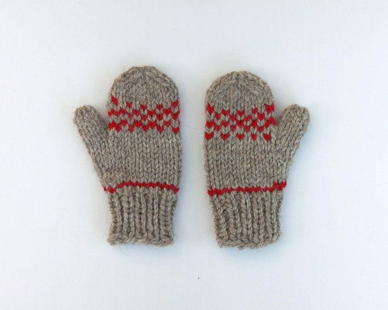 Natural Wool Grey and Red Kids Mittens  ($19-$23)