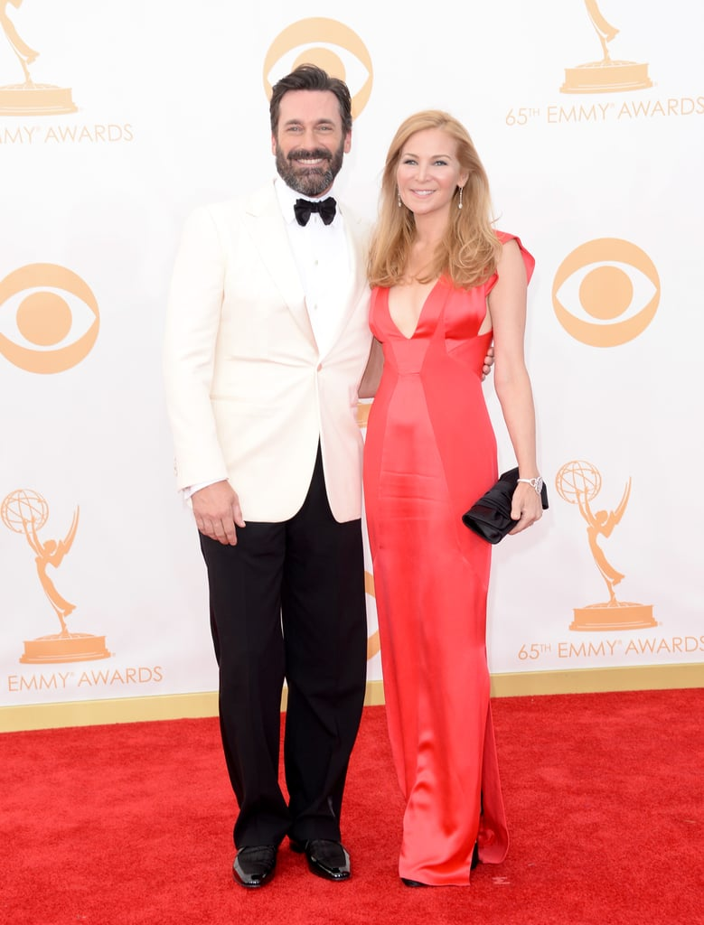 A handsome Jon Hamm and his girlfriend, Jennifer Westfeldt, walked the Emmys red carpet together.