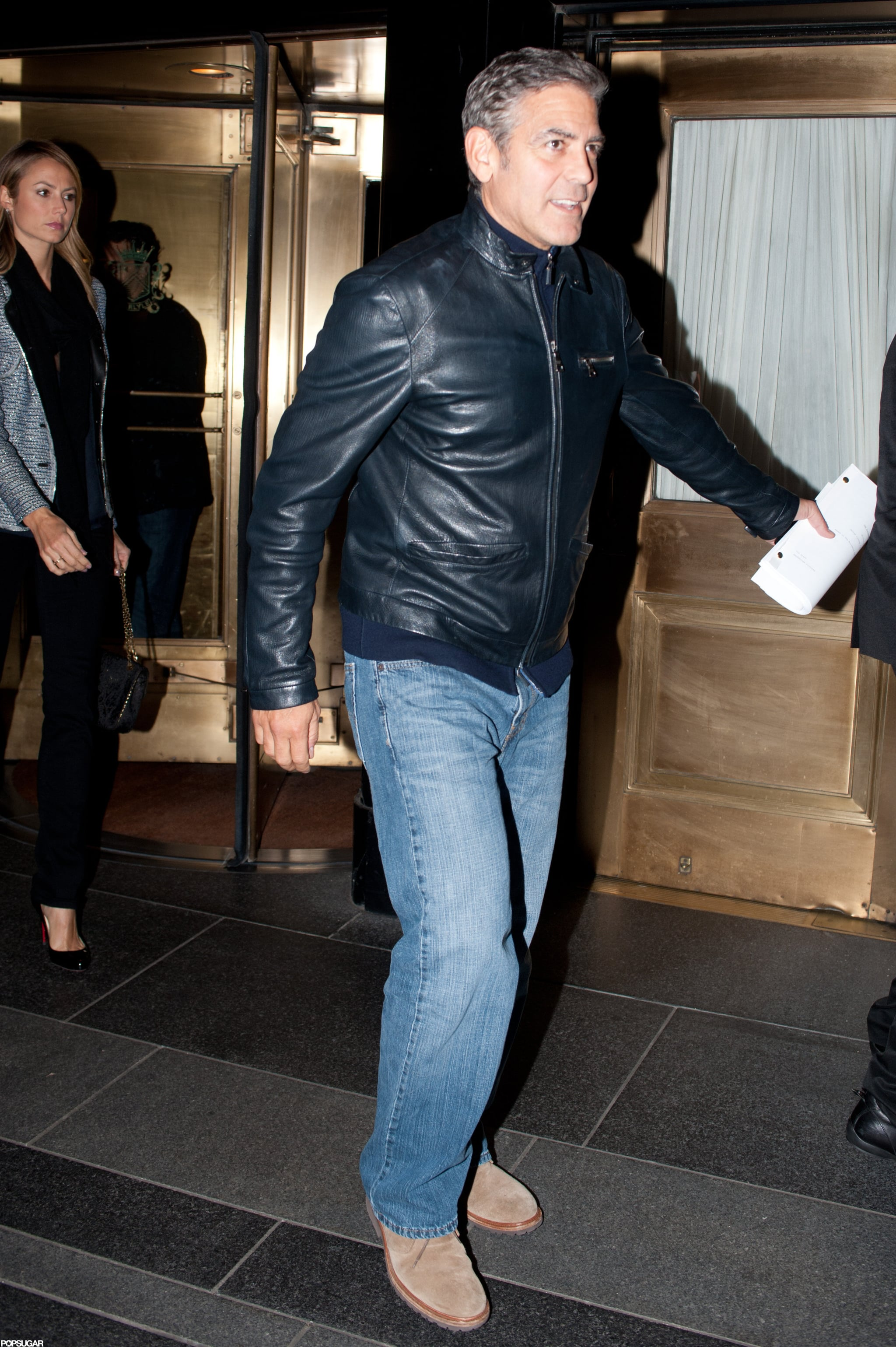 George Clooney had an evening out with Stacey Keibler and pals in NYC.