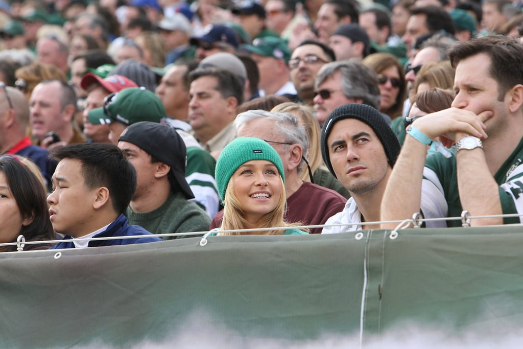 Hayden Panettiere sat in the stands of the New York Jets vs. Buffalo Bills game in November 2011.