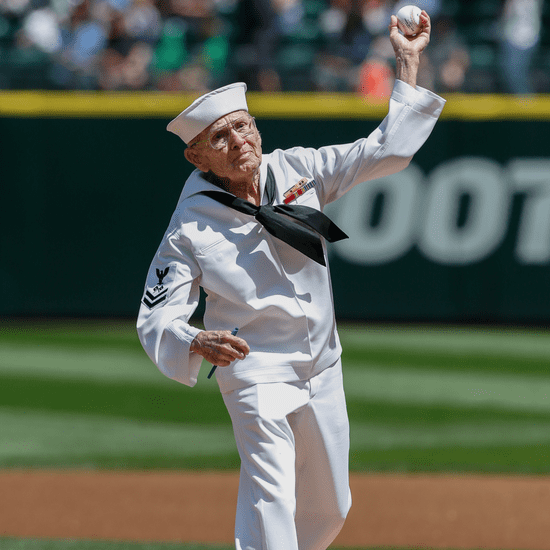 World War II Veteran Throws First Pitch at Mariners Game