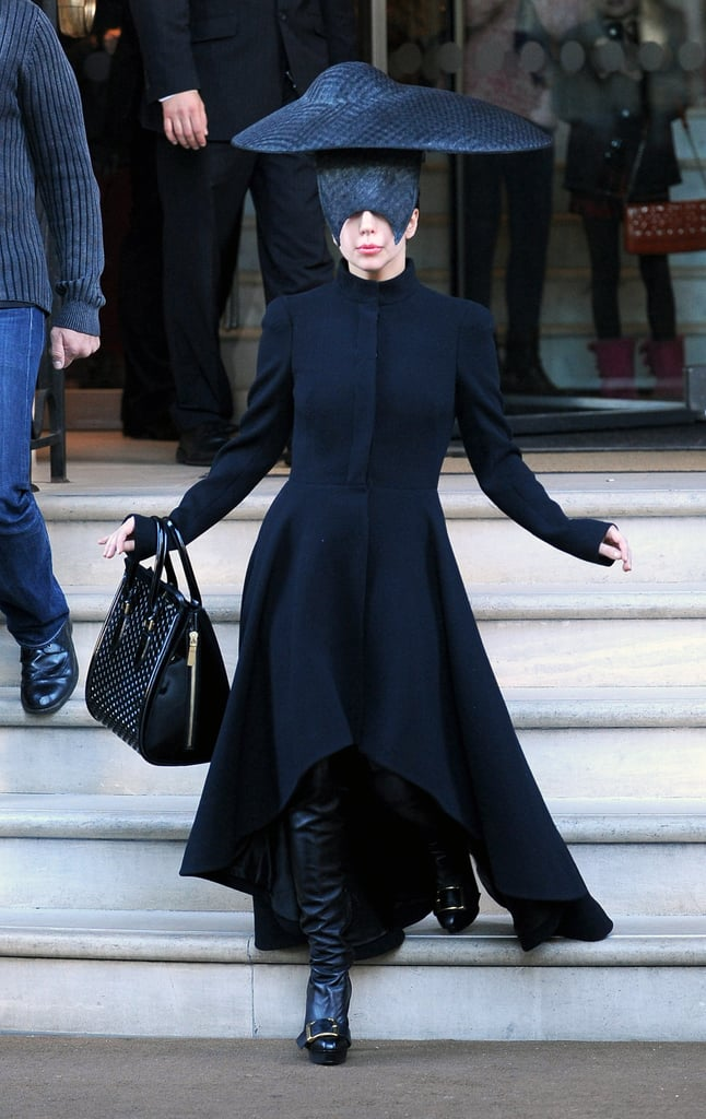 Lady Gaga in Sculptural Black Hat in London in 2013