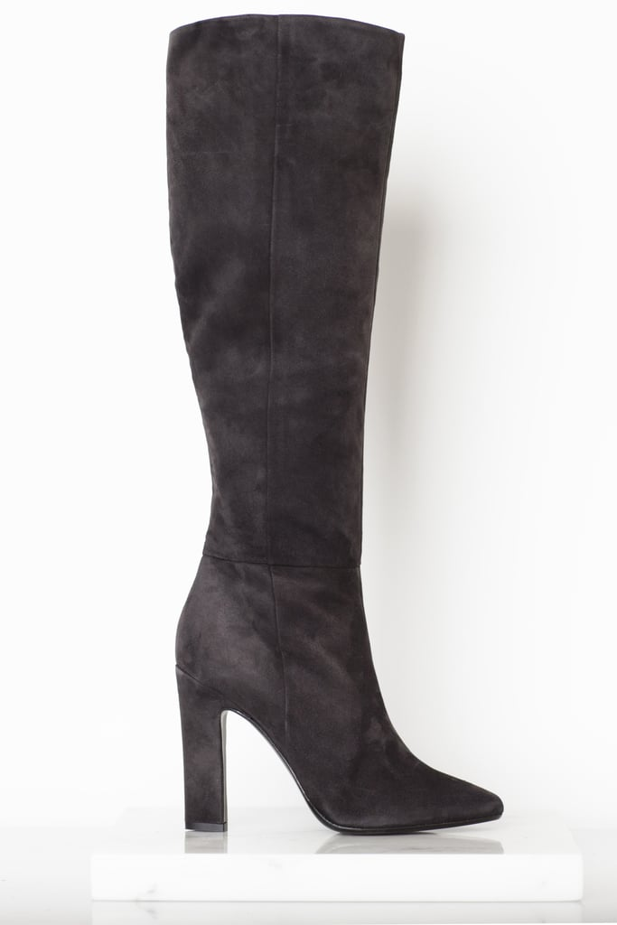 Why Not Suede Knee High Boot in Grey ($1,295) Photo courtesy of Tamara Mellon