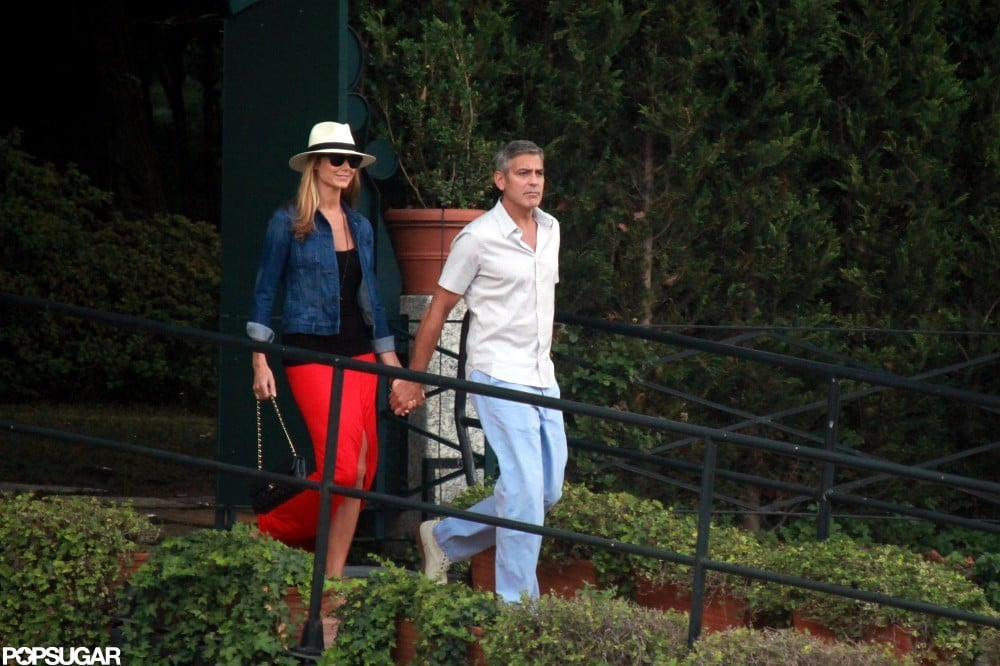George Clooney held Stacy Keibler's hand while in Lake Como in June.