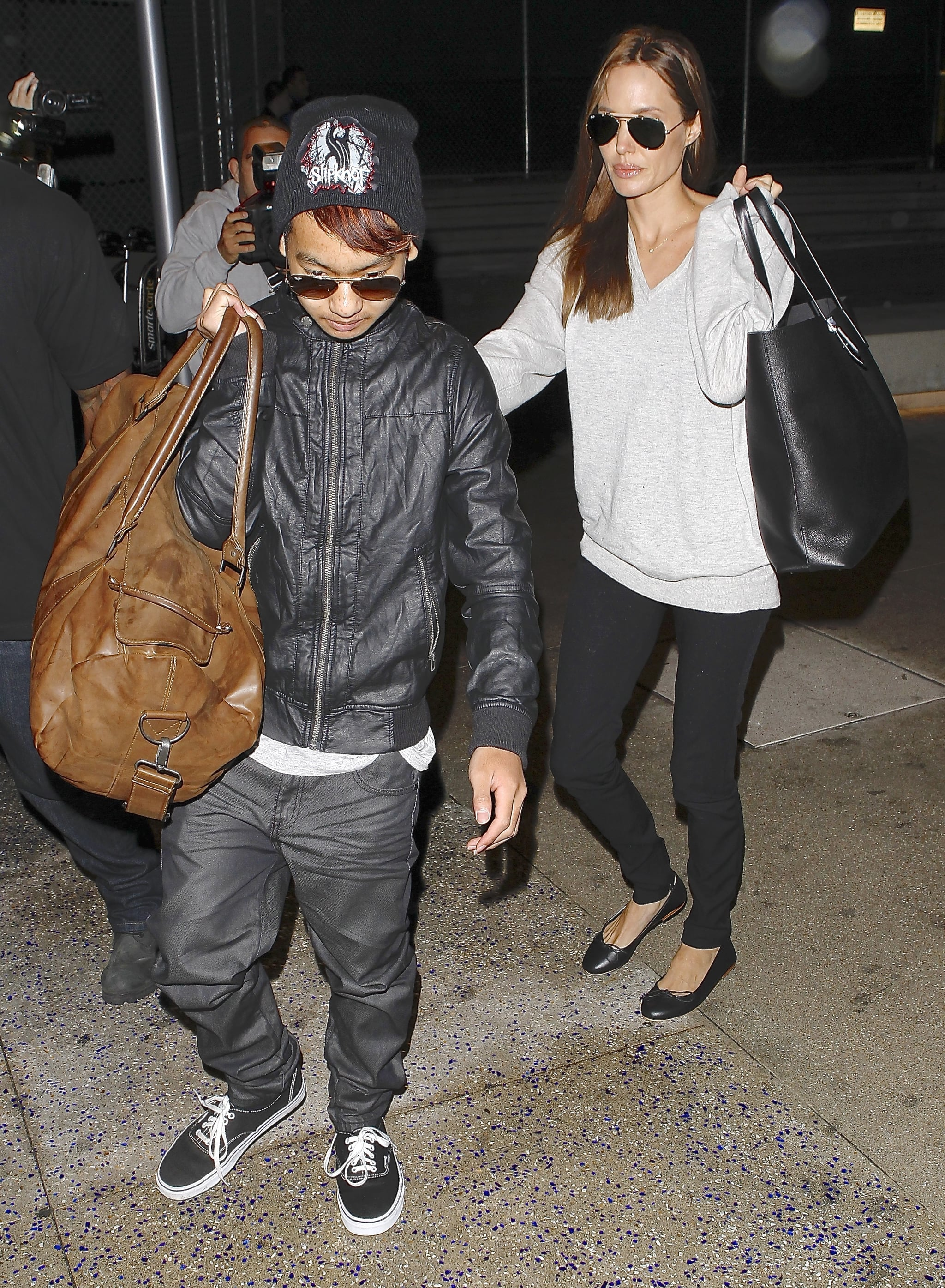 Angelina and Maddox left LA on Friday.