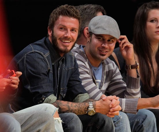 Slide Photo of David Beckham Sitting Front Row at The Lakers Game in LA