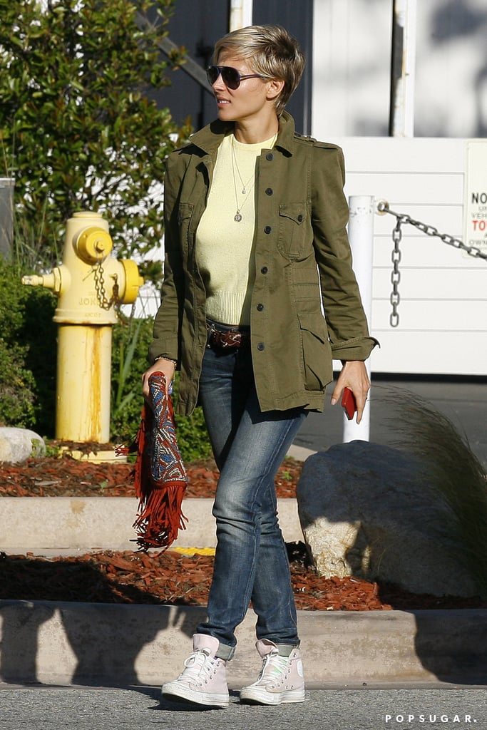 Elsa Pataky wore a green jacket for a lunch outing in LA.