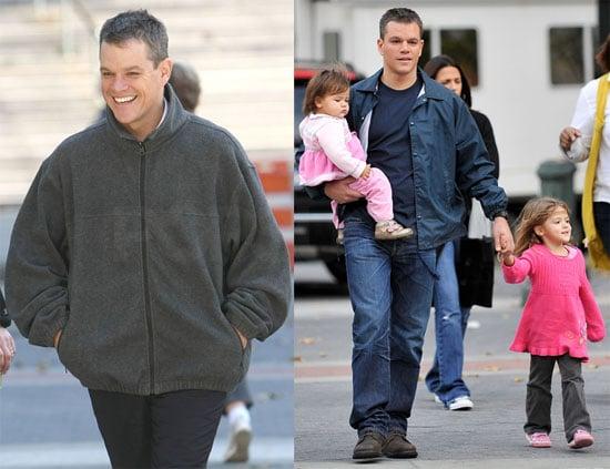 Photos of Matt Damon, Luciana, and the Kids on Set of the Adjustment Bureau