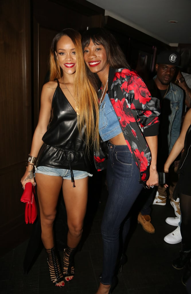 Rihanna was party-ready in a cinched leather top and denim hot pants at NYC's 40/40 club in May 2013.