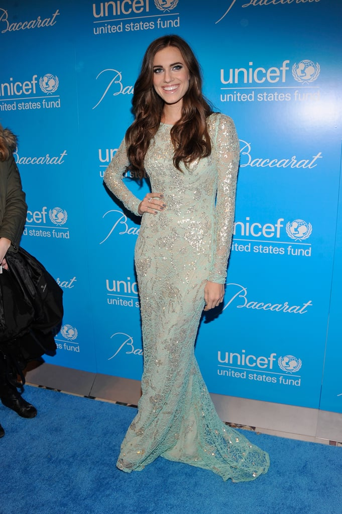 Allison Williams wore a long sleeved gown at the Unicef Snowflake Ball in NYC.