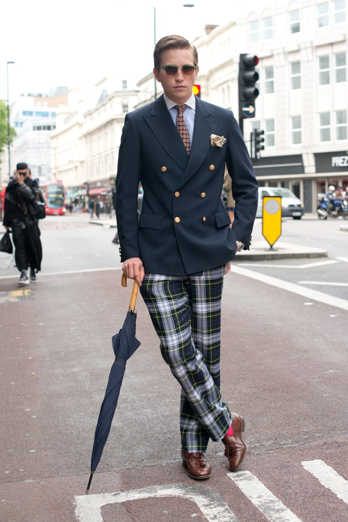 Take notes from this dapper dude and opt for a polished blazer and a little plaid for perfect preppy effect.