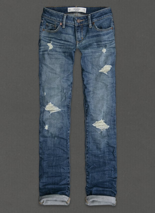 Abercrombie & Fitch Classic Straight Destroyed in Medium Wash ($88)