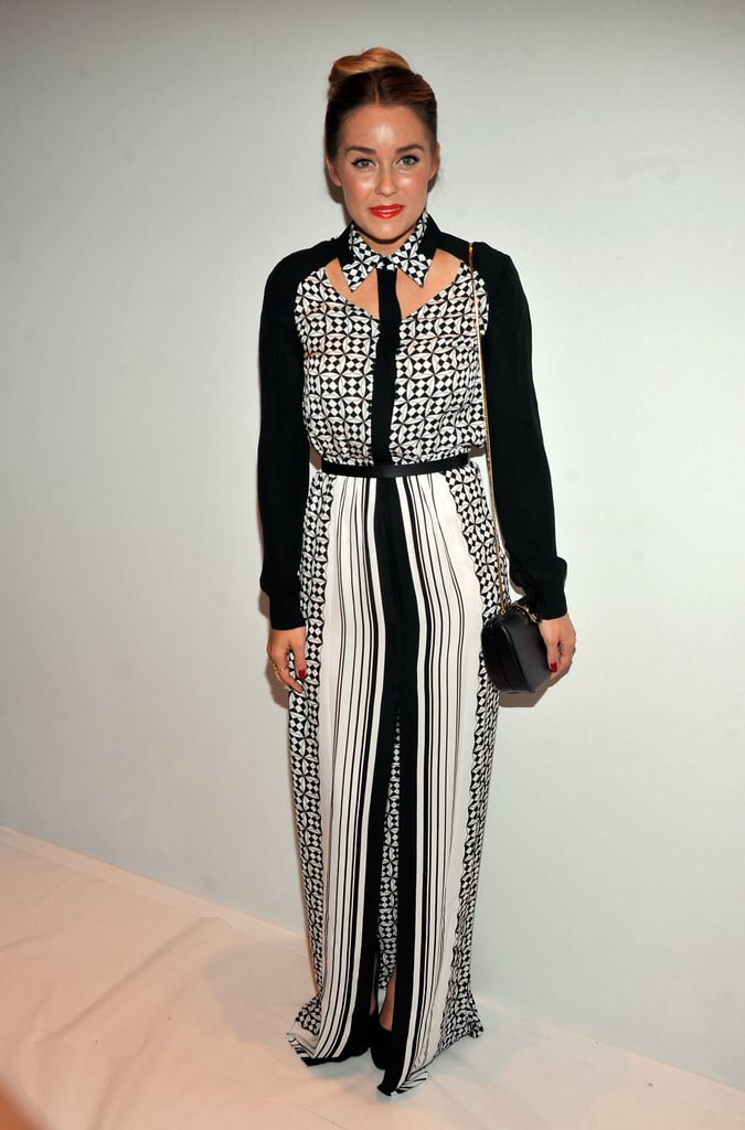 Lauren Conrad glammed up with a red lip and a Rebecca Minkoff collared maxi dress at the designer's show.