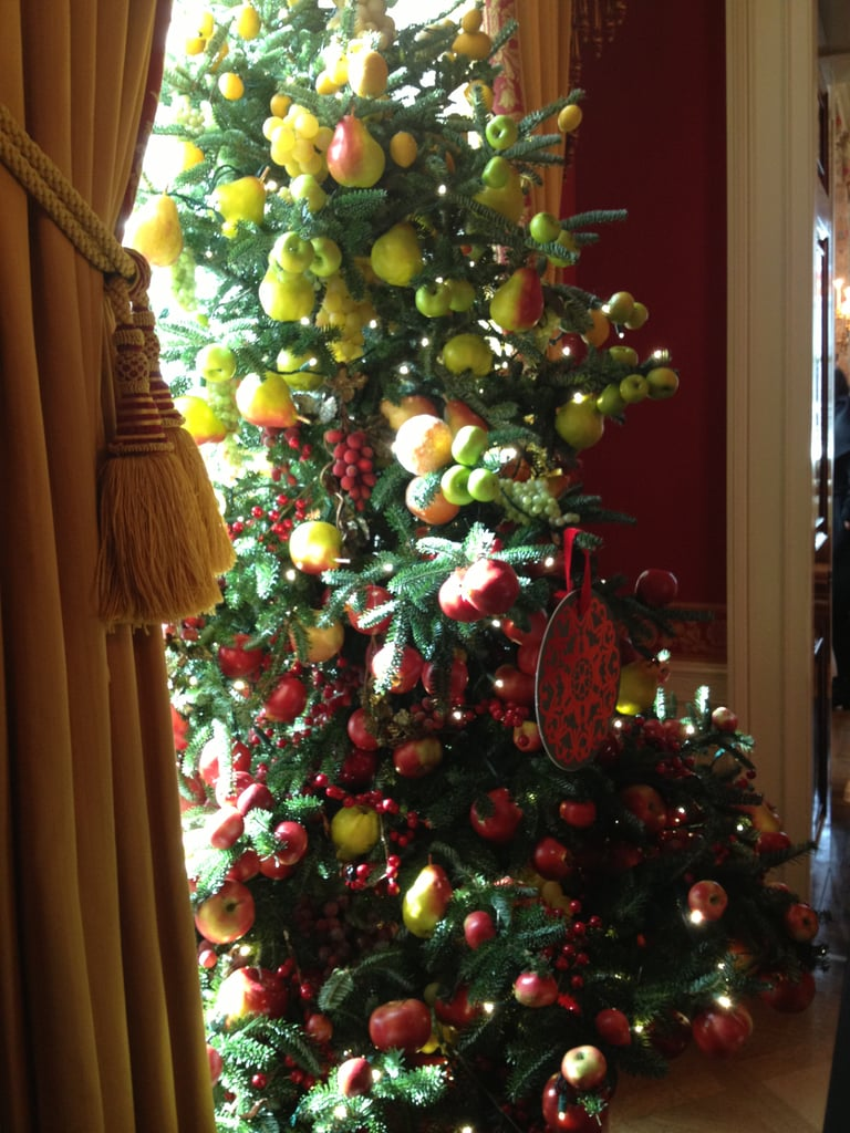 The trees in the Red Room had cranberry ornaments.