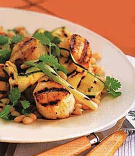 Healthy Recipe For Grilled Scallops, Zucchini, and White Beans