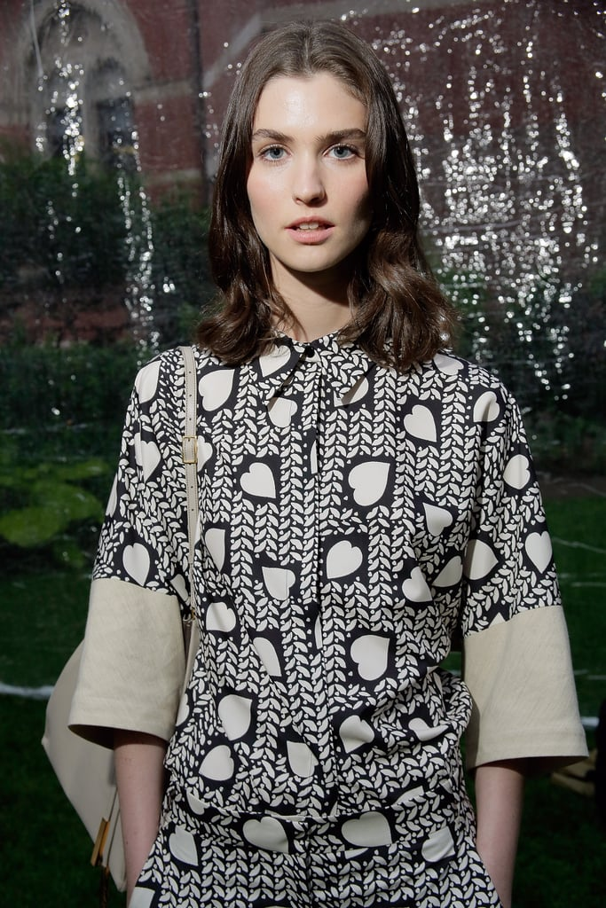 A model at Stella McCartney's Resort 2014 presentation.