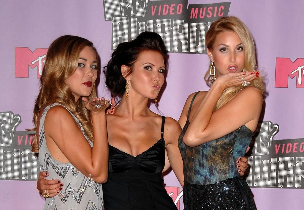 Lauren Conrad, Audrina Patridge, and Whitney Port puckered up at the 2007 MTV Movie Awards.