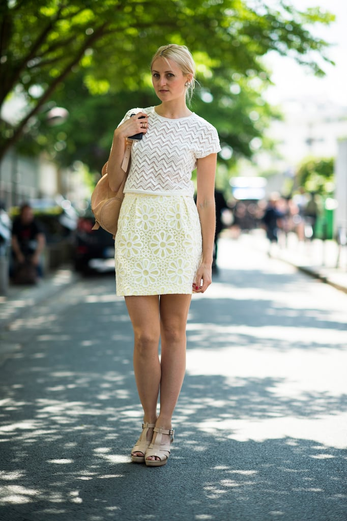 A summery mix of lace and chevron in crisp white and bleached-out lemon feels perfect right now.